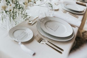 Elegant white and silver table set up
